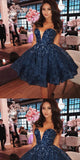 Dark Blue V-neck Pearl Lace Homecoming Dresses,Cheap Short Prom Dresses,BDY0217