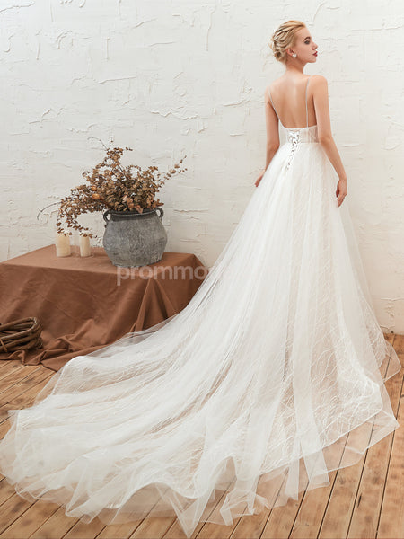V-neck White Lace Tulle Illusion Wedding Dresses with Trailing, Lace-up Back Spaghetti Pageant Dress, EPR361