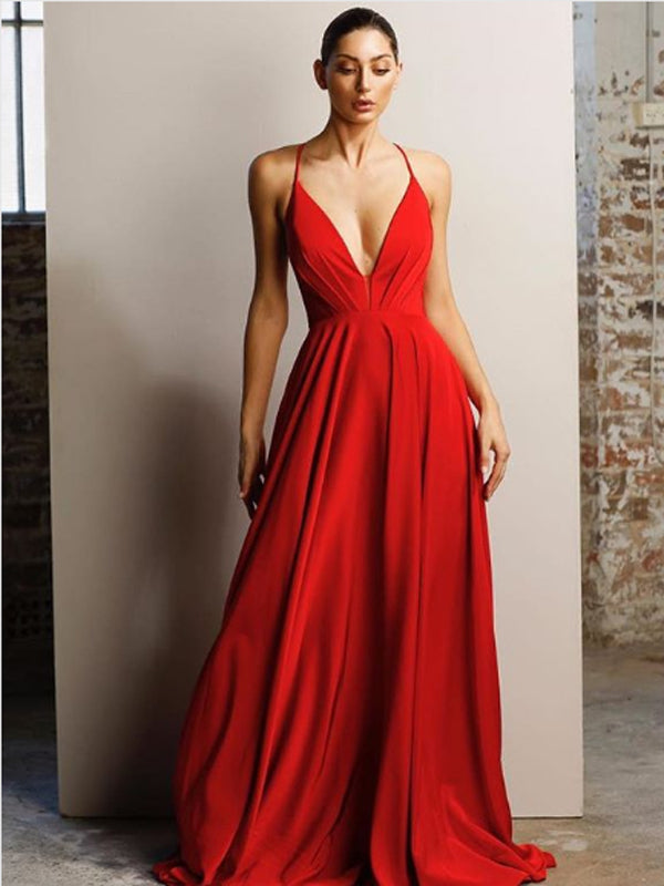 A-Line V-neck Spaghetti Straps Red Long Prom Dresses ,Cheap Prom Dresses,PDY0456