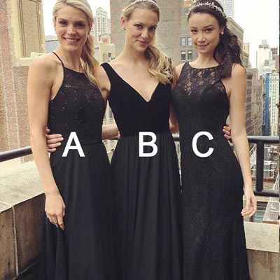 A-line Black Lace Long Bridesmaid Dresses,Cheap Bridesmaid Dresses,WGY0397