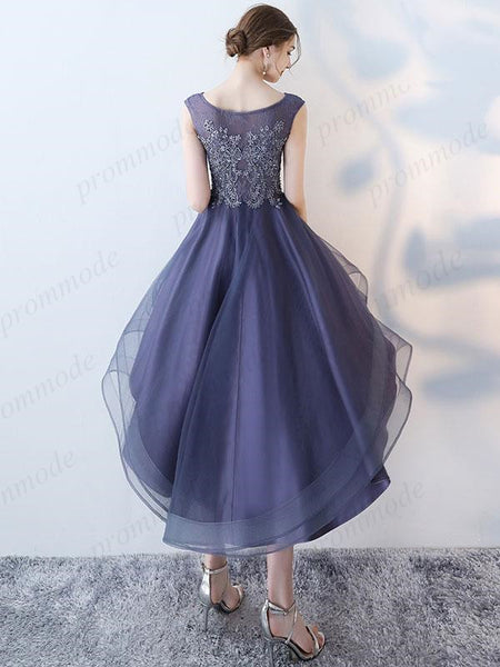 Purple Hi-lo Beaded Lace Homecoming Dresses,Unique Short Prom Dresses,BDY0215