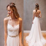 Charming A-Line Spaghetti Straps White Tulle Long Wedding Dress With Lace.PDY0233