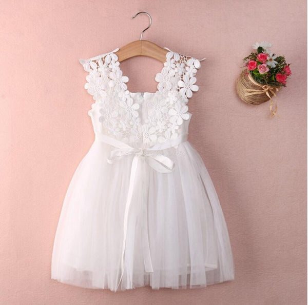 Cute V Neck Tulle Ivory Mini Flower Girl Dresses, Weding Cheap Little Girl Dresses, FGY0113