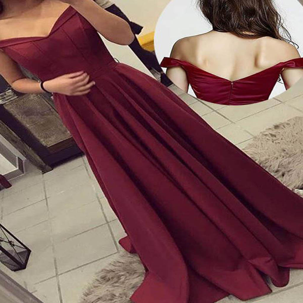 A-line Sleeveless Satin Off-the-Shoulder Long Burgundy Prom Dresses, Party Evening Gowns . PDY0191