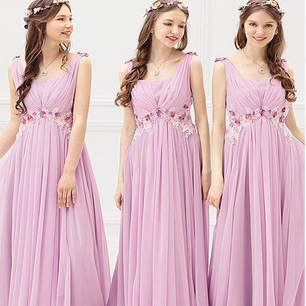 Sweetheart Chiffon Scoop Full Length A-line Lace Appliques Bridesmaid Dresses With Handmade Flowers & Beadings,WGY0193
