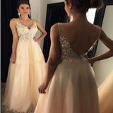 2019  V-neck Beading Applique Long Tulle Prom Dresses Evening Dresses Prom Dresses,  Party Dress, PDY0163