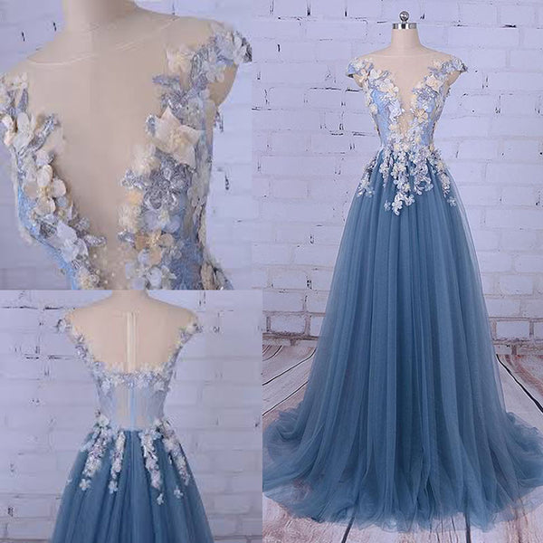 Charming Beaded Prom Dress, A-Line Tulle Prom Dress, Applique Prom Dress. PDY0216