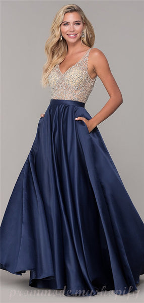 Illusion Tulle Beaded Top Satin Hem Charming Bridesmaid Dress with Pockets, Gorgeous Evening Dress, EPR423