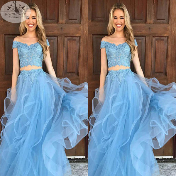 Newest Two Piece Off The Shoulder Sky Blue Organza Prom Dress with Appliques,Evening Party Dresses,PDY0313