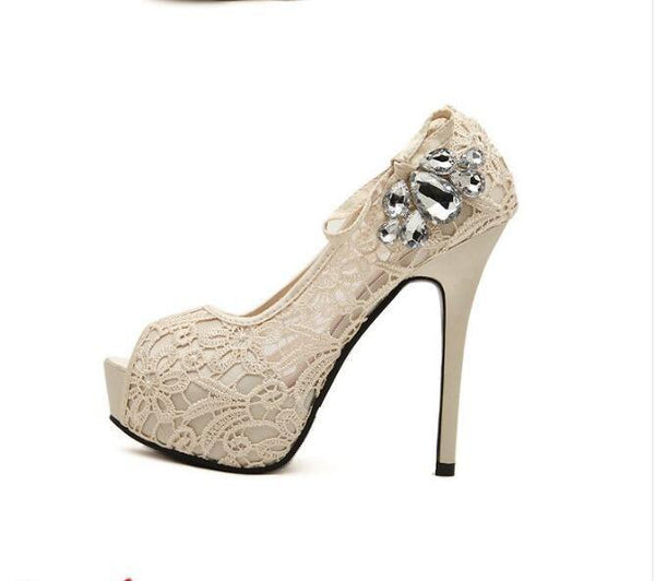 Hand Made High Heels Fish Toe Lace Sexy Wedding Bridal Shoes, SY0110