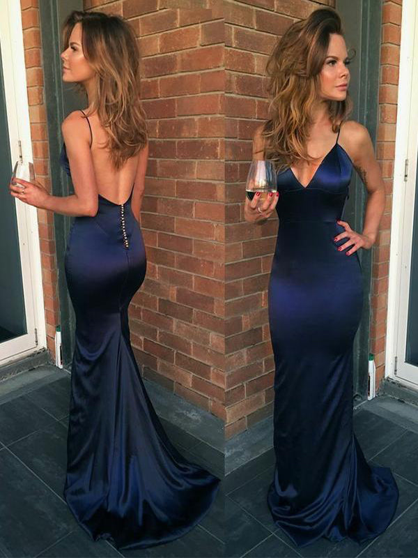 Mermaid Navy Blue V Neck Backless Evening Dresses ,Cheap Prom Dresses,PDY0623