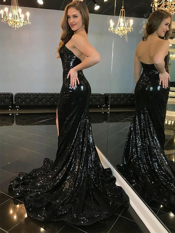 Hot Mermaid Strapless Black Sequined Evening Dresses,Cheap Prom Dresses,PDY0561