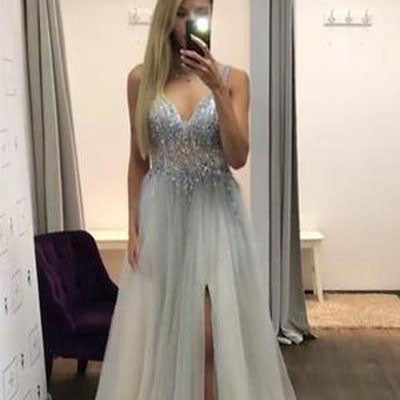 2019 Tulle Long Sleeveless Chapel Trailing Elegant Prom Dresses, Fashion Modern Prom Dress, Party Dress, PDY0114