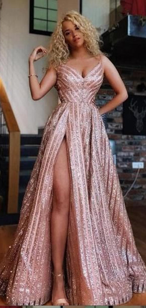 Spaghetti Strap A-Line Side Slit Long Prom Dresses,Cheap Prom Dresses,PDY0521