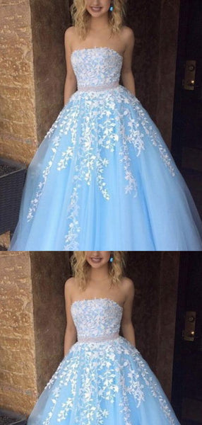 A-line Strapless Sky_Blue Tulle Long Prom Dresses,Cheap Prom Dresses,PDY0471