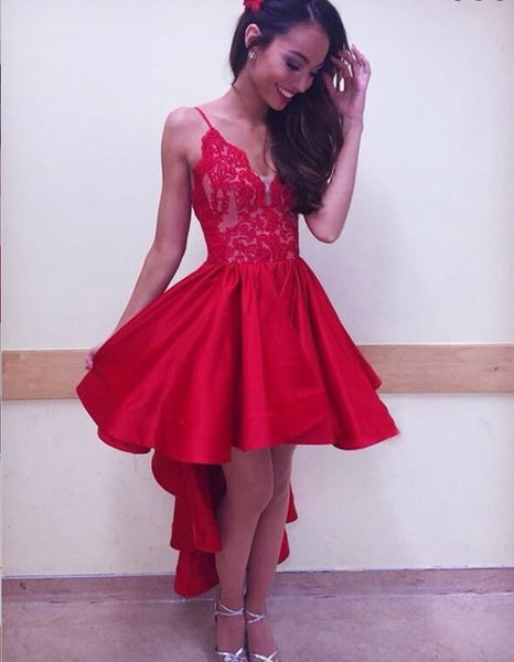 A-Line Spaghetti Straps Asymmetric Red Satin Homecoming Dress With Lace,Short Prom Dresses,BDY0327