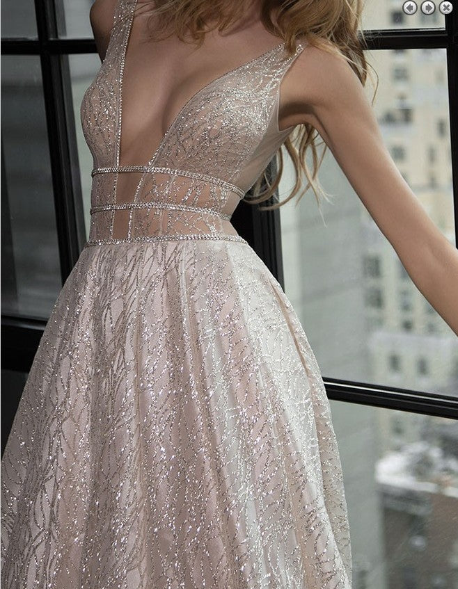 2019 A-Line Deep V-Neck Tulle Sequins Floor-Length Long Sexy Party Prom Dress. PDY0206