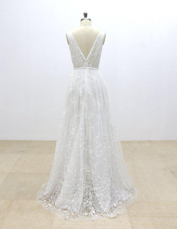 Simple V Neck Lace Cheap A-line Wedding Dresses Online, WD371