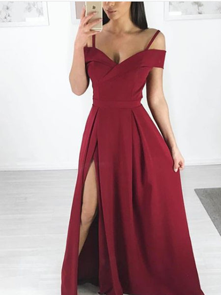 A-line Off-The-Shoulder Red Satin Long Prom Dresses,Cheap Prom Dresses,PDY0519