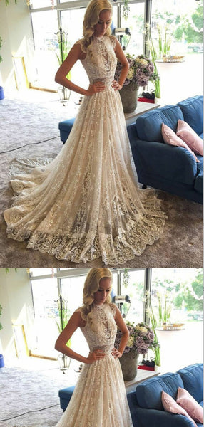 A-Line High Neck Beaded Lace Wedding Dresses ,Cheap Wedding Dresses, WDY0289