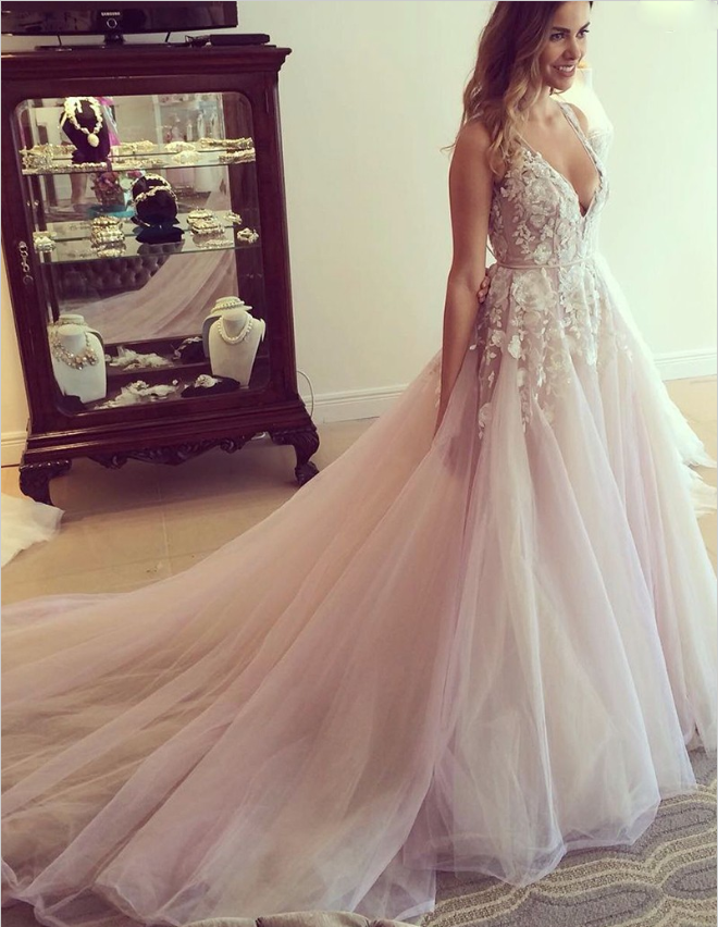 A-Line Bridal Sleeves Deep V Neck Heavily Embellished Bodice Romantic Pretty Pink  Wedding Dress ,WDY0156