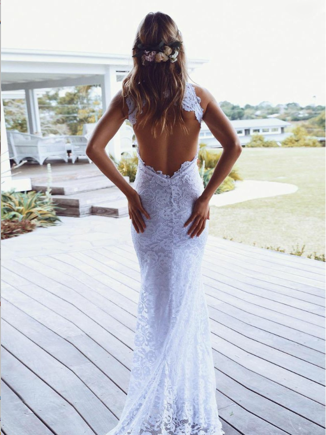 Beautiful White Tulle Lace Cheap Simple  Wedding Dress With Illusion Button Back, WDY0142