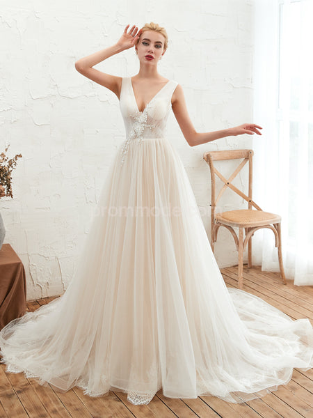 V-neck White Tulle Illusion Wedding Dresses with Trailing, Lace-up Back Straps Pageant Dress, EPR362