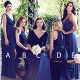 A-line V-neck Blue Chiffon Bridesmaid Dresses,Cheap Bridesmaid Dresses,WGY0365