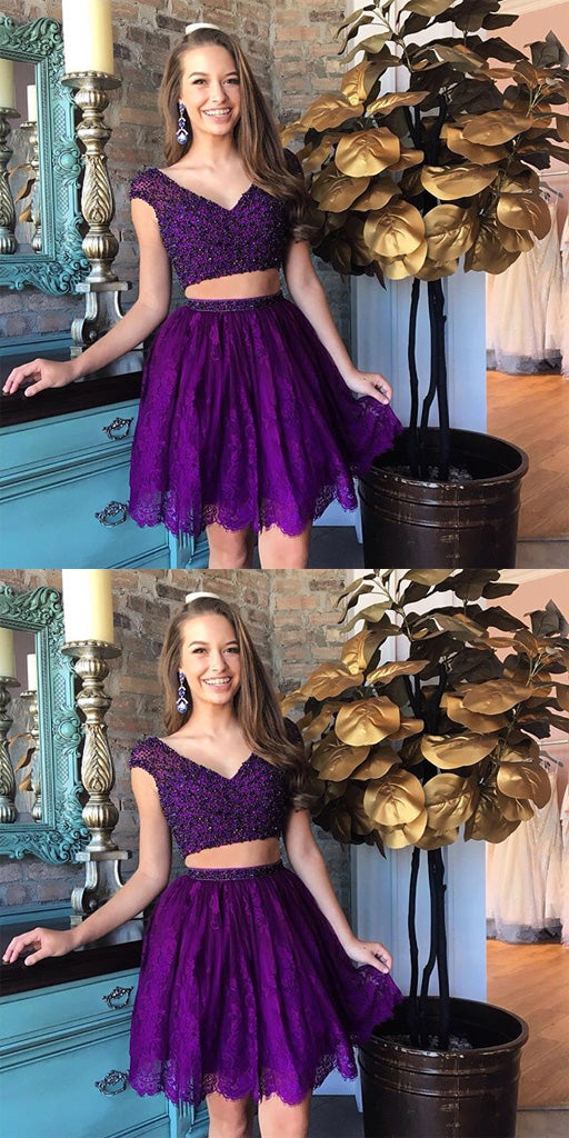 Two Piece V-neck Purple Beaded Homecoming Dresses,Cheap Short Prom Dresses,BDY0219
