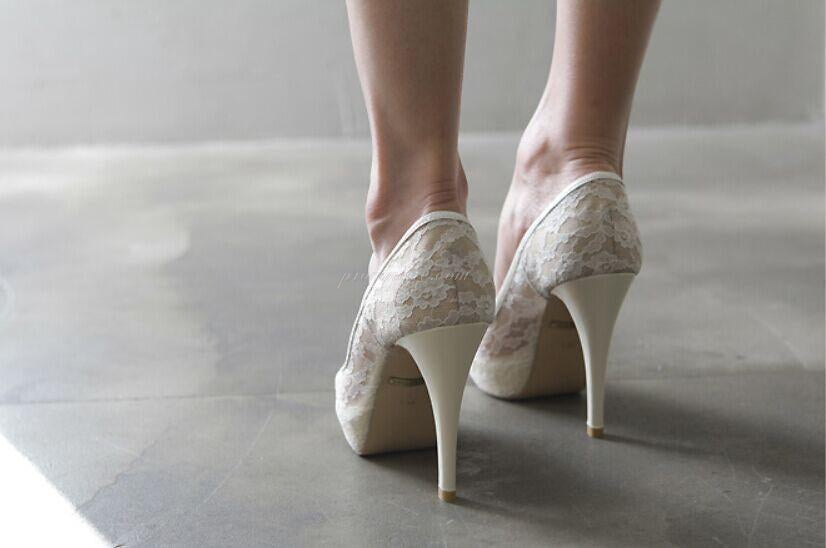 High Heels Fish Toe Ivory Lace Sexy Wedding Bridal Shoes With Tow, SY0115