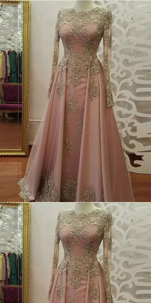 A-line Lone Sleeves beaded Pink Lace Prom Dress ,Cheap Prom Dresses,PDY0409