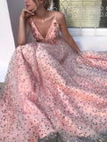 Floral Pink Tulle Long Evening Dresses,Cheap Prom Dresses,PDY0644