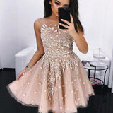 A-line Beaded Homecoming Dresses With Handmade Flower,Cheap Short Prom Dresses,BDY0220