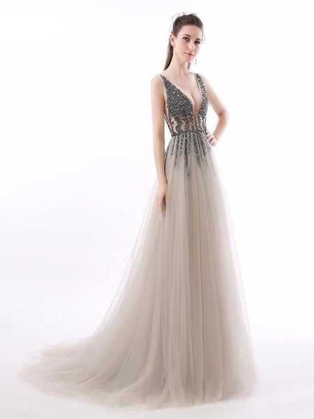 Sexy See Through V Neck Beaded Tulle A line Long Evening Prom Dresses,PDY0252