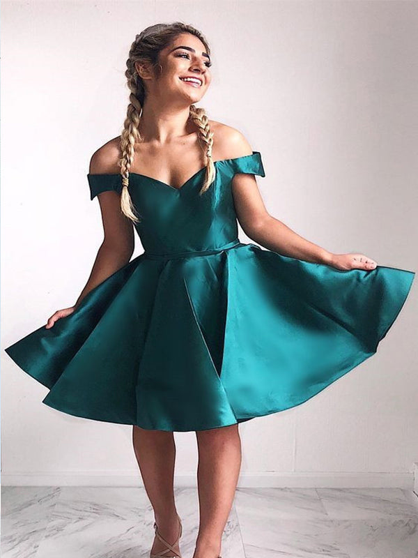 A-line Off-the-Shoulder Green Satin Homecoming Dress ,Short Prom Dresses,BDY0349