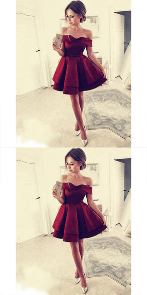 Burgundy Off-the-Shoulder Satin Homecoming Dresses ,Cheap Short Prom Dresses,BDY0221