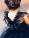 Navy Blue Tulle Flower Girl Dress with Ruffles,Cheap Flower Girl Dresses ,FGY0235