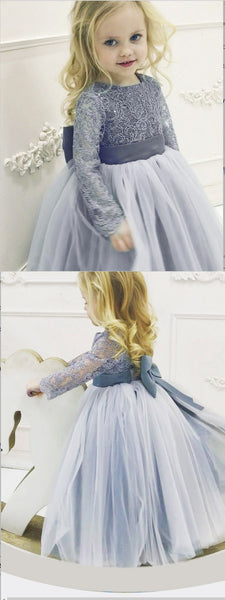 A-Line Grey Tulle Flower Girl Dress with Lace Bowknot ,Cheap Flower Girl Dresses ,FGY0218