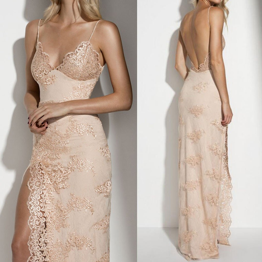Spaghetti Sexy Backless Long Sheath Gold Lace Side Slit Prom Dresses, BG0231