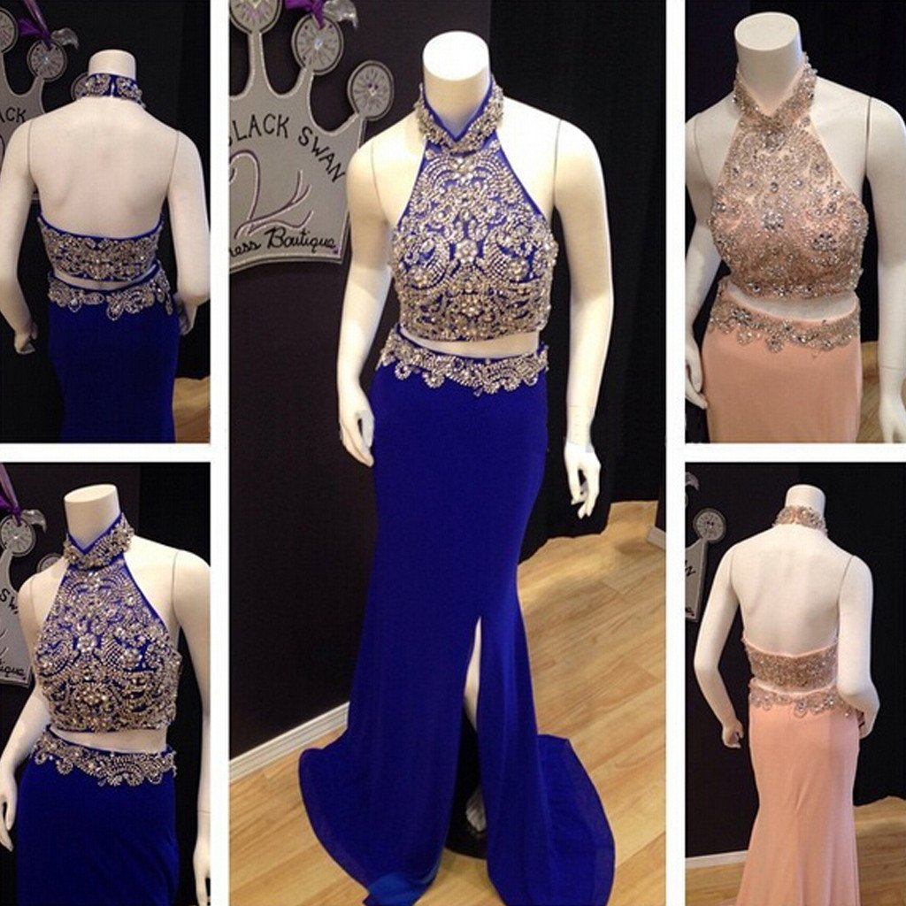 Two Pieces High Neck Rhinestone Beaded Side Slit Jersey Prom Dresses, BG0233