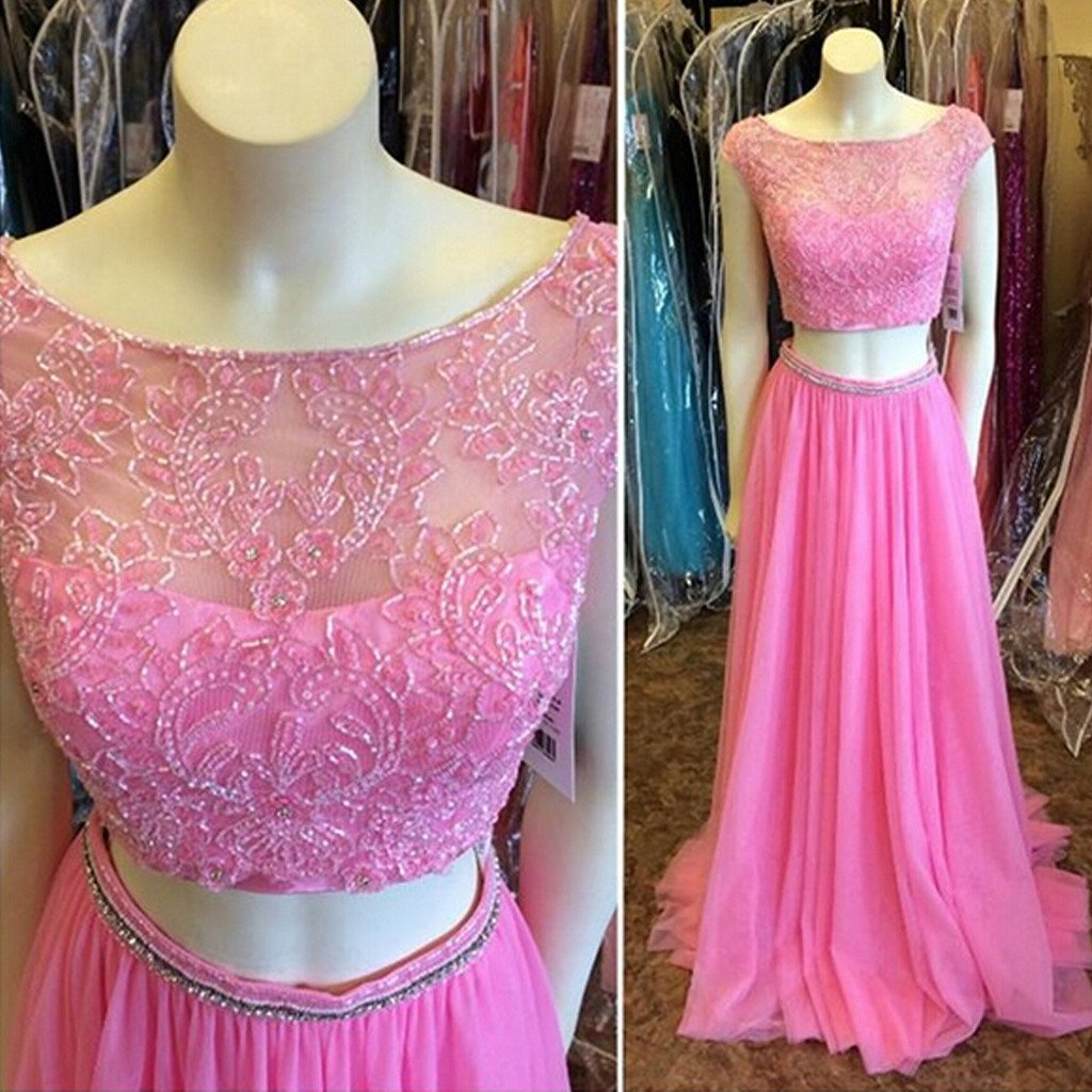 Two Pieces Round Neck Beaded Long A-line Chiffon Prom Dresses, BG0236