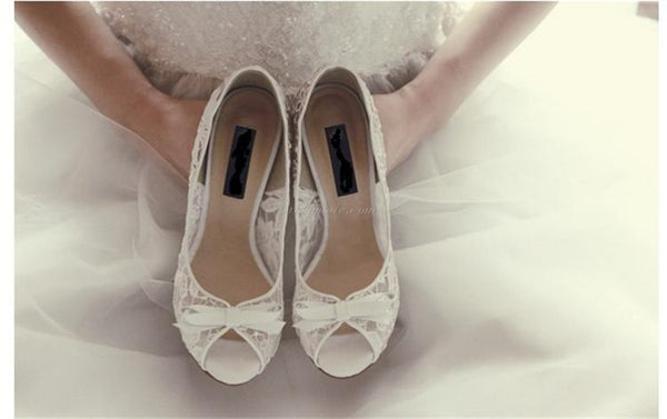 Ivory Lace High Heels Fish Toe Sexy Wedding Bridal Shoes With Tow, SY0119