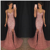 2019  Mermaid Sleeveless V-Neck Tulle Rhinestone Gorgeous Formal Dress Evening Dress,Prom Dresses,PDY0207