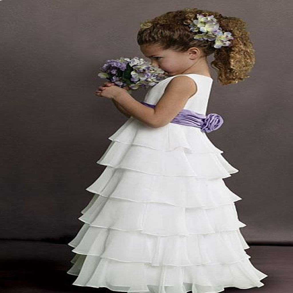 Sweet Beginnings Tiered Chiffon Flower Girls Dress , Bridesmaid Princess Dress Ballgown,FGY0143