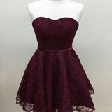 Purple Sleeveless A-line Lace Homecoming Dresses ,Cheap Short Prom Dresses,BDY0223