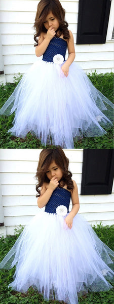 A-Line Strapless Navy Blue Tulle Flower Girl Dress,Cheap Flower Girl Dresses ,FGY0220