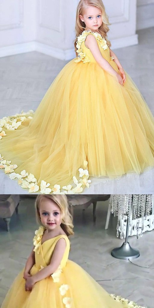 V-Neck Sweep Train Yellow Tulle Flower Girl Dress with Flowers,Cheap Flower Girl Dresses ,FGY0237