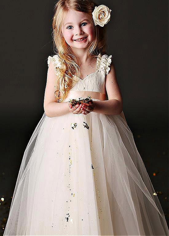 Sweetheart  Floor-length Spaghetti Straps Tulle Flower Girl Dresses With Belt ,Cheap Flower Girl Dresses,FGY0190