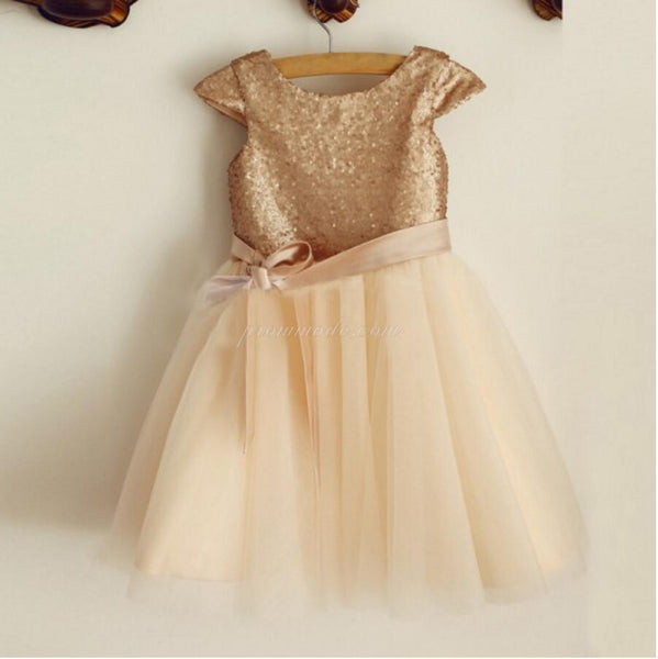 Cap Sleeve Round Neck Tulle Flower Girl Dresses, Popular Little Girl Dresses, FGY0107