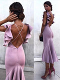 Mermaid Tea-length Purple Prom Dresses,Cheap Prom Dresses,PDY0463